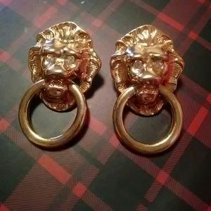 Kenneth Jay Lane K.J.L. Avon Lions head earrings